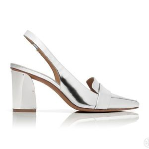 Tory Burch Sadie Metallic Block Heel Slingbacks